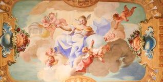 Freskomålning i Stift Melk, Österrike - vetenskap Royaltyfria Bilder