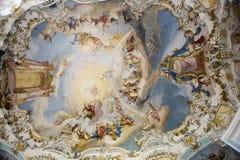 Freskomålning kyrkliga Wies Royaltyfri Foto