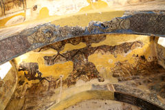 Freskomålning på den Quseir (Qasr) Amra ökenslotten nära Amman, Jordanien Royaltyfri Bild