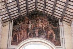 Freskomålning på taket av den gamla fiskmarknaden av Rimini royaltyfri bild