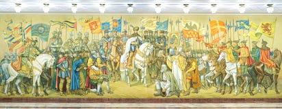 Freskomålning som föreställer den stora unionen av de tre romanian furstendömena Arkivbild