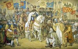 Freskomålning som föreställer den stora unionen av de tre romanian furstendömena Royaltyfri Foto