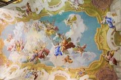Freskomålning som visar kardinalen Virtues i Stift Melk, Österrike Arkivbild