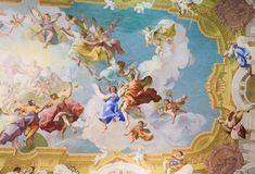 Freskomålning som visar kardinalen Virtues i Stift Melk, Österrike Royaltyfria Foton