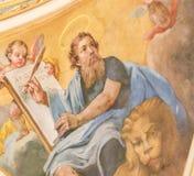 Freskomålning som visar St Mark evangelisten arkivbild