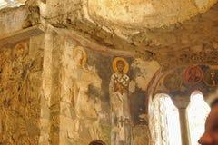 Freskomålningar i den Sanka Nicholas Santa Clause kyrktar i Demre, Turkiet Det ` s en forntida bysantinsk kyrka Fotografering för Bildbyråer