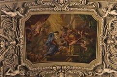 Freskomålningar och andra härliga garneringar inom dominikan kyrktar i Wien arkivbilder