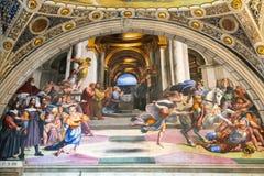 Freskomålningen av det 16th århundradet i Vaticanenmuseet Arkivfoto
