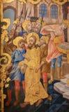 Freskomålningen av Jesus kom med för Pontius Pilate i kyrkan av den heliga griften, Jerusalem royaltyfria foton