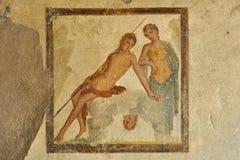 Freskomålningen i fördärvar av Pompeii Arkivfoto