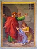 Freskomålningen med bilden av livet av St Paul: Omvandling av fångvaktaren royaltyfri foto