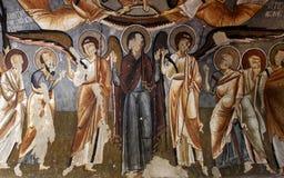 Freskomålningen vaggar kyrkan i Cappadocia, Turkiet, Mellanösten Royaltyfria Foton