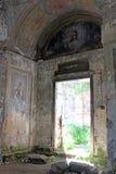 Freskomålningfragment i gammal ortodox kyrka Royaltyfri Foto