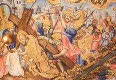 Freskom?lning i kyrkan av den heliga griften, Jerusalem - Jesus p? Via Dolorosa arkivbilder