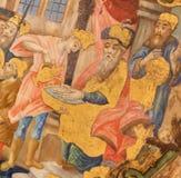 Freskom?lningen av Jesus kom med f?r Pontius Pilate i kyrkan av den heliga griften, Jerusalem royaltyfri bild