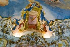 Freskos der wieskirche Kirche Lizenzfreie Stockfotos