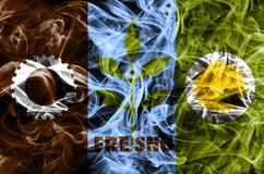 Fresno city smoke flag, California State, United States Of America.  royalty free stock image
