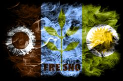 Fresno city smoke flag, California State, United States Of America.  Stock Photos