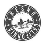 Fresno Kalifornien USA ringsum Knopf-Stadt-Skyline-Entwurfs-Stempel-Vektor-Reise-Tourismus stockbilder
