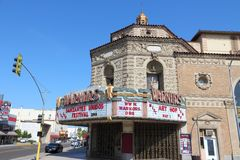 Fresno landmark. FRESNO, UNITED STATES - APRIL 12, 2014: Warnors Theatre in Fresno, California. The building was completed in 1928 and is on US National Register Royalty Free Stock Photo