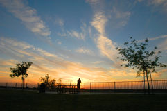 Fresno-Sonnenuntergang Lizenzfreies Stockfoto