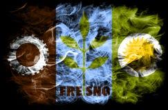Fresno-Stadtrauchflagge, Staat California, die Vereinigten Staaten von Amerika Stockfotos