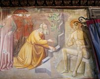 Fresque à San Gimignano - livre du travail Photographie stock