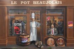 «Fresque стена des Lyonnais» покрашенная Стоковые Изображения RF