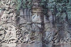Fresque Angkor Vat/Angkor Thom Les ruines antiques d'un historique Photographie stock