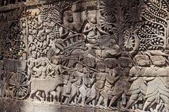 Fresque Angkor Vat/Angkor Thom Les ruines antiques d'un historique Images libres de droits