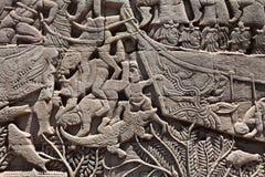 Fresque Angkor Vat/Angkor Thom Les ruines antiques d'un historique Photos stock