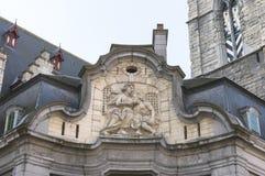 Fresque antique du Mammelokker sur le côté du beffroi à Gand. Photographie stock