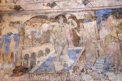 Fresque au château de désert de Quseir (Qasr) Amra près d'Amman, Jordanie Photo libre de droits