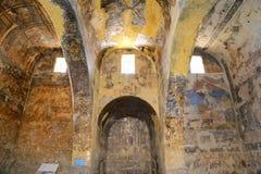 Fresque au château de désert de Quseir (Qasr) Amra près d'Amman, Jordanie Photographie stock