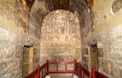 Fresque au château de désert de Quseir (Qasr) Amra près d'Amman, Jordanie Image libre de droits