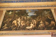 Fresque avec les personnes nues dans le musée italien Palazzo Te à Mantova Photo stock