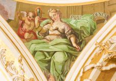 Fresque dépeignant Virtue Prudence cardinal Photo libre de droits