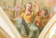 Fresque dépeignant Virtue Temperance cardinal Photos libres de droits