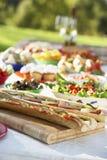 Fresque d'Al dinant, avec la nourriture présentée sur le Tableau photos stock