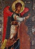 Fresque dans l'église de la vierge des peribleptos d'Ohrid Image libre de droits