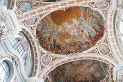 Fresque dans la cathédrale baroque de rue James, Innsbruck photos libres de droits