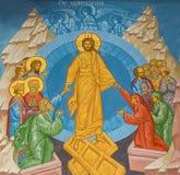 Fresque de Jesus Christ dans le ciel dans l'église de St Constanstine et d'orthodx de Helena Photo stock