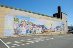 Fresque de Judith Sargent Murray à Gloucester, le Massachusetts Photo libre de droits