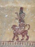 Fresque de Khaldi de Dieu dans Erebuni, Arménie Photo stock