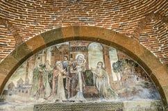 Fresque de la naissance du Christ dans le temple du martyre Gayane image stock