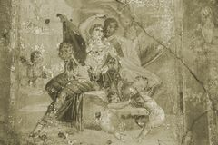 Fresque de Pompeii dans la sépia Image libre de droits