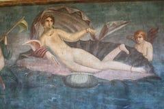 Fresque de Vénus dans le temple de Vénus, Pompeii, Italie images stock