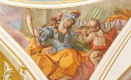 Fresque de Virtue Courage cardinal Photo stock