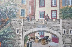 Fresco details from Parc de la Cetiere Old Quebec City in Canada Royalty Free Stock Images