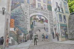 Fresco details from Parc de la Cetiere Old Quebec City in Canada Stock Photography